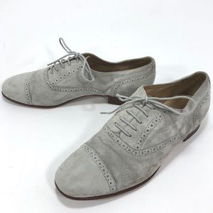 J. Crew Gray Suede Wingtip Lace up Oxfords Sz 6.5
